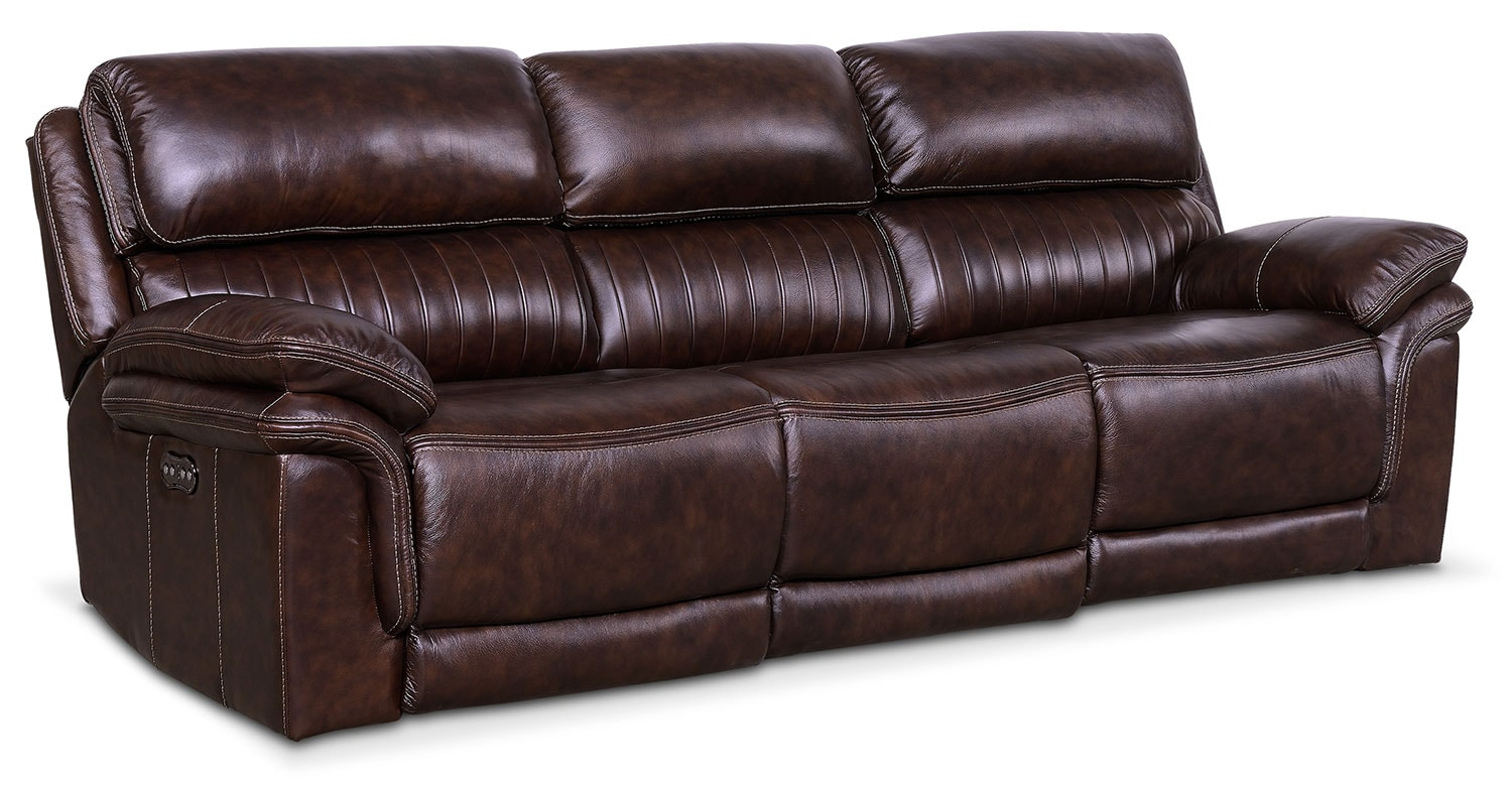 Monterey 3 Piece Power Reclining Sofa Chocolate American  ~ Leather Dual Reclining Sofa
