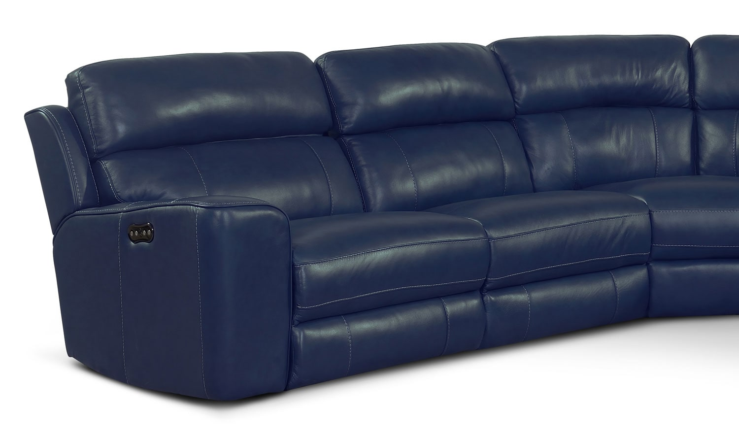 Newport 6 piece power reclining sectional with right for Blue leather reclining sofa