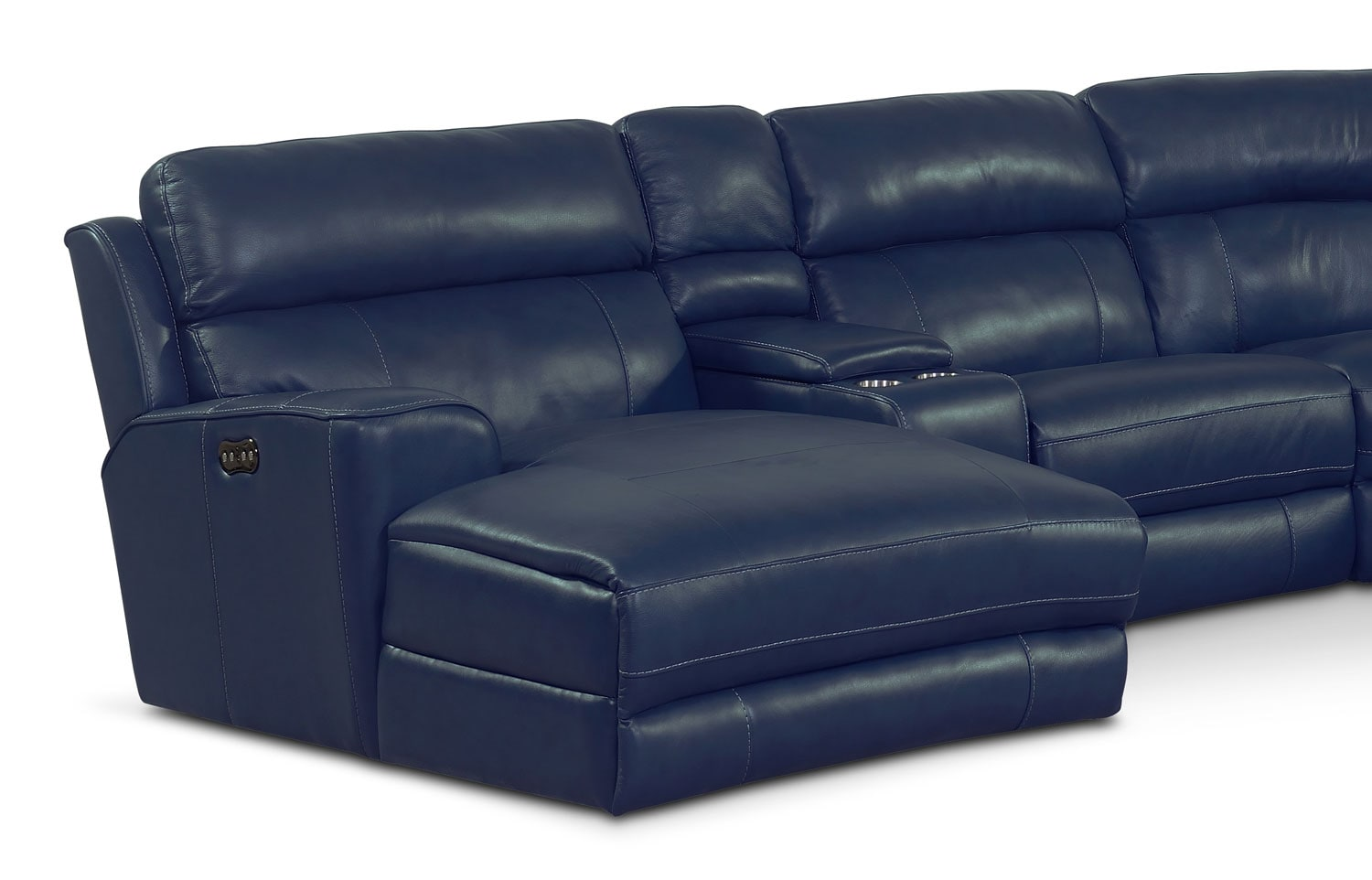 Sectional with chaise and recliner sectional sofa with for Blue leather chaise lounge