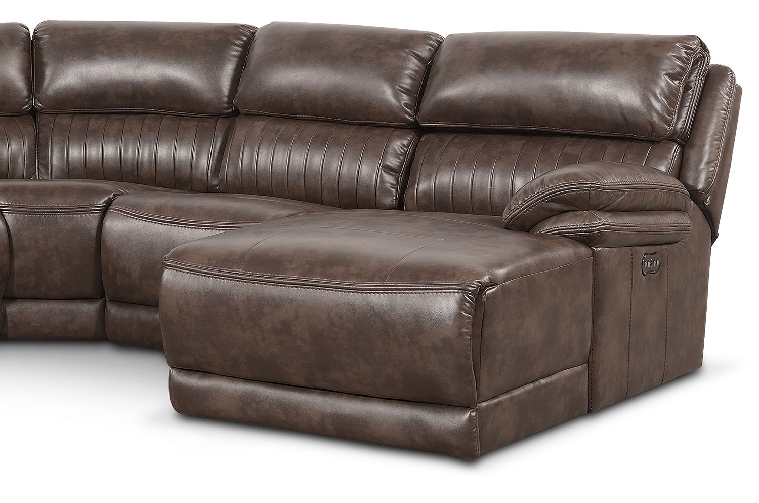 Monterey 6 piece power reclining sectional with right for Brown sectionals with chaise