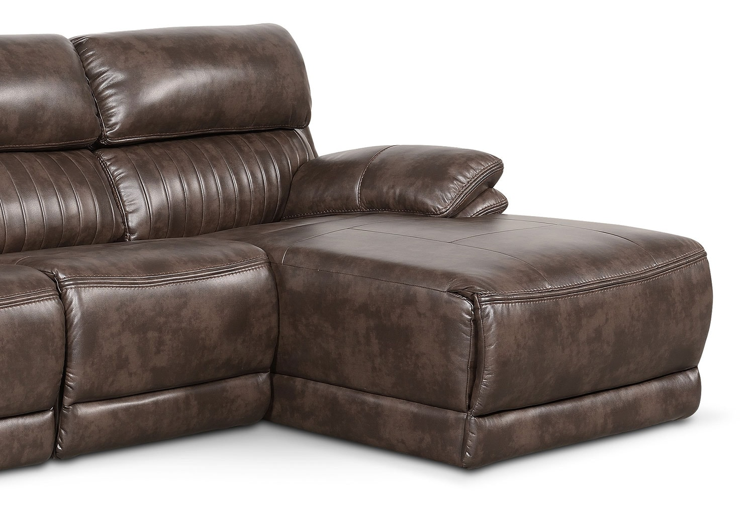 Monterey 3 piece power reclining sectional with right for Brown sectional with chaise