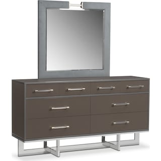 Sonata Dresser and Mirror - Gray