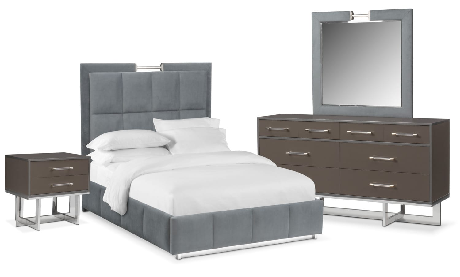 bedroom furniture sonata 6 piece queen bedroom set gray