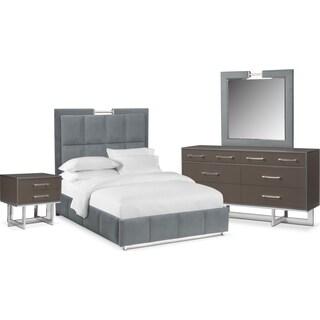Sonata 6-Piece Queen Bedroom Set - Gray