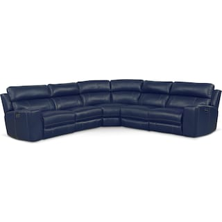 Newport 5-Piece Power Reclining Sectional with 3 Reclining Seats - Blue