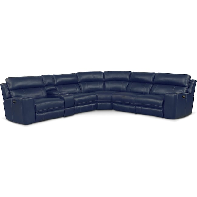 Living Room Furniture - Newport 6-Piece Power Reclining Sectional with 2 Reclining Seats - Blue