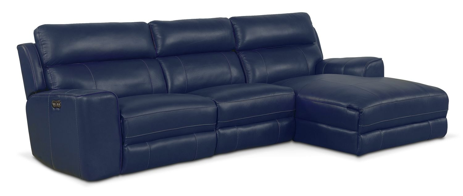 Newport 3-Piece Power Reclining Sectional with Right-Facing Chaise - Blue