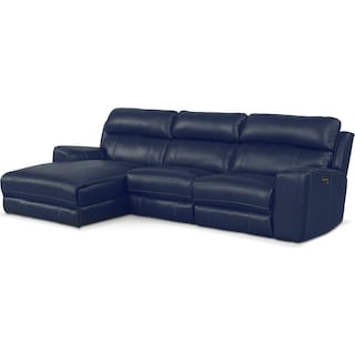 Newport 3-Piece Power Reclining Sectional with Left-Facing Chaise - Blue