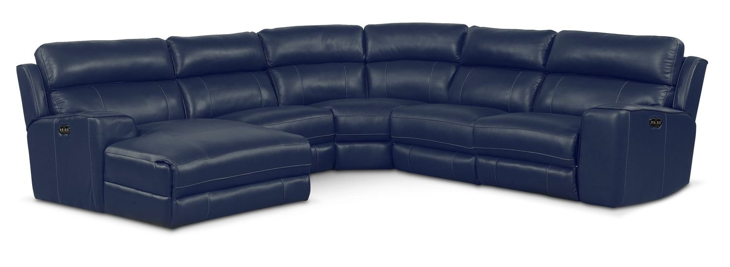 Newport 5-Piece Power Reclining Sectional with Left-Facing Chaise and 2 Recliners - Blue