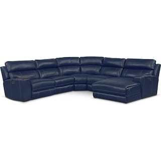 Newport 5-Piece Power Reclining Sectional with Right-Facing Chaise and 2 Recliners- Blue