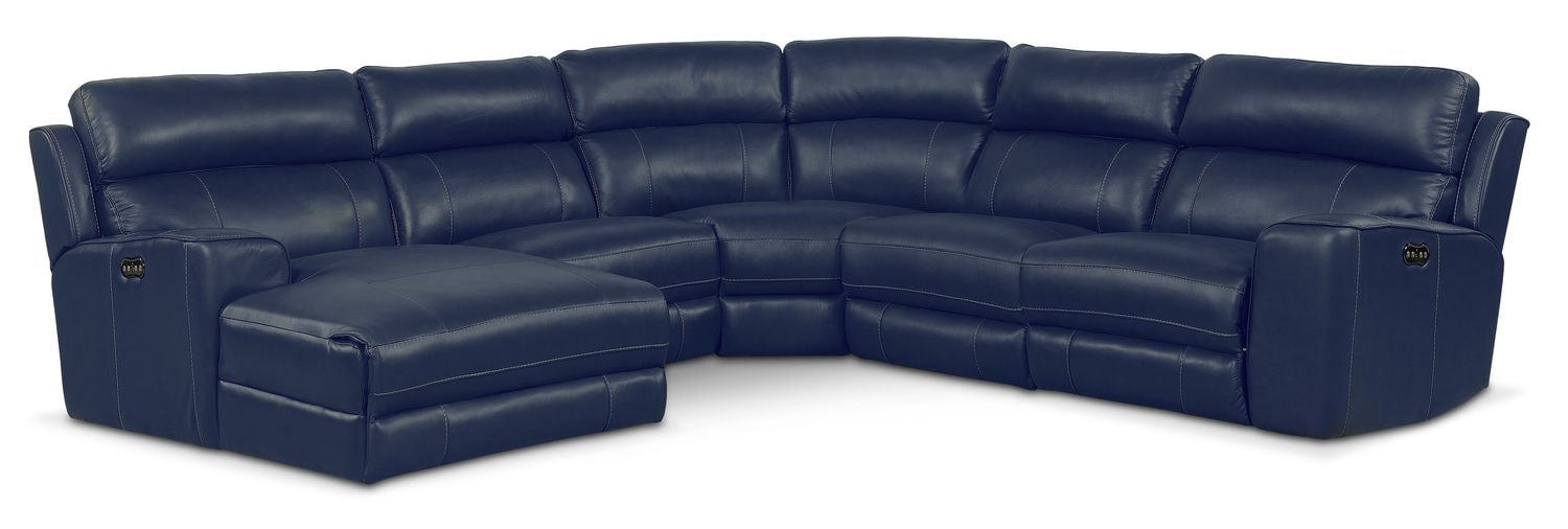 Newport 5-Piece Power Reclining Sectional with Left-Facing Chaise and 1 Recliner - Blue
