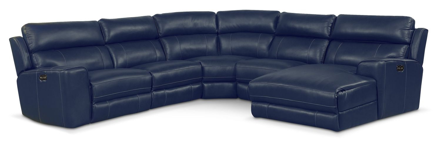 Newport 5-Piece Power Reclining Sectional with Right-Facing Chaise and 1 Recliner - Blue