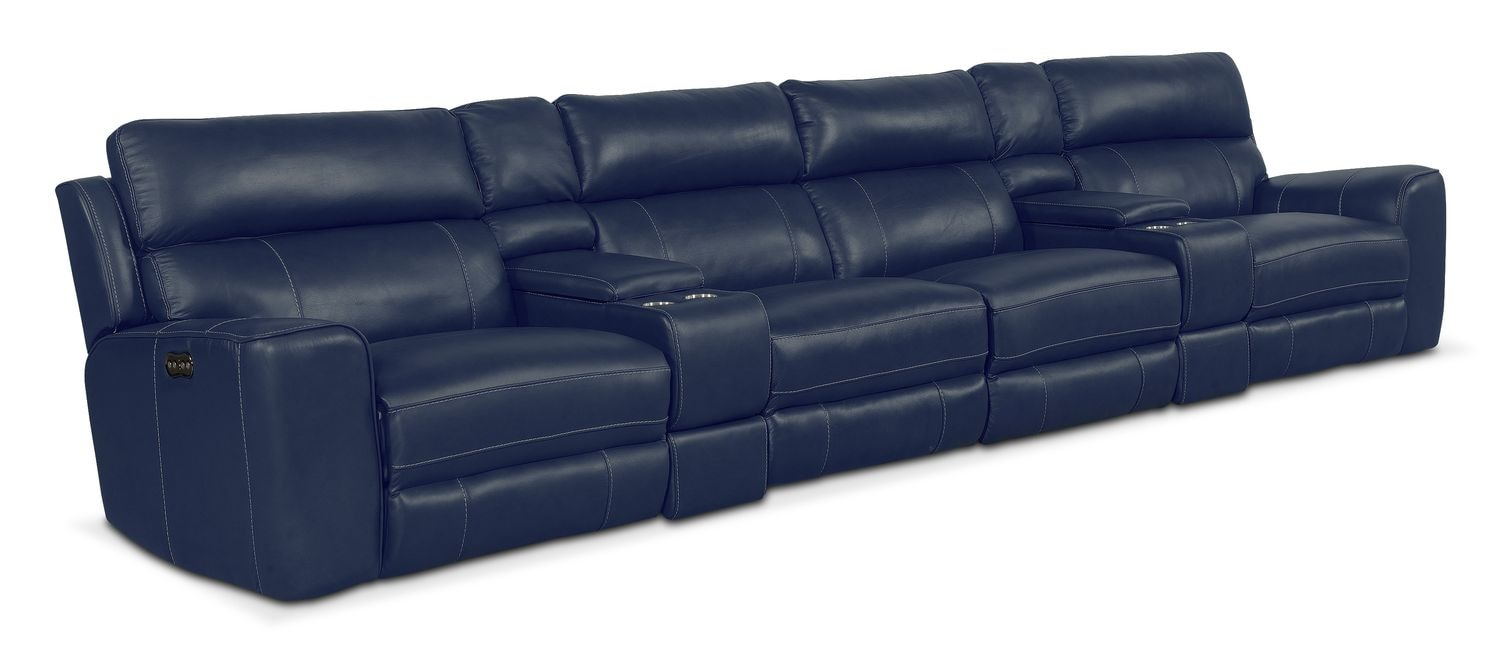Living Room Furniture - Newport 6-Piece Power Reclining Sectional with 4 Reclining Seats - Blue