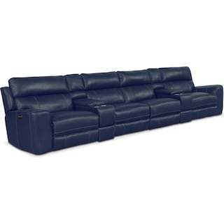 Newport 6-Piece Power Reclining Sectional with 4 Reclining Seats - Blue