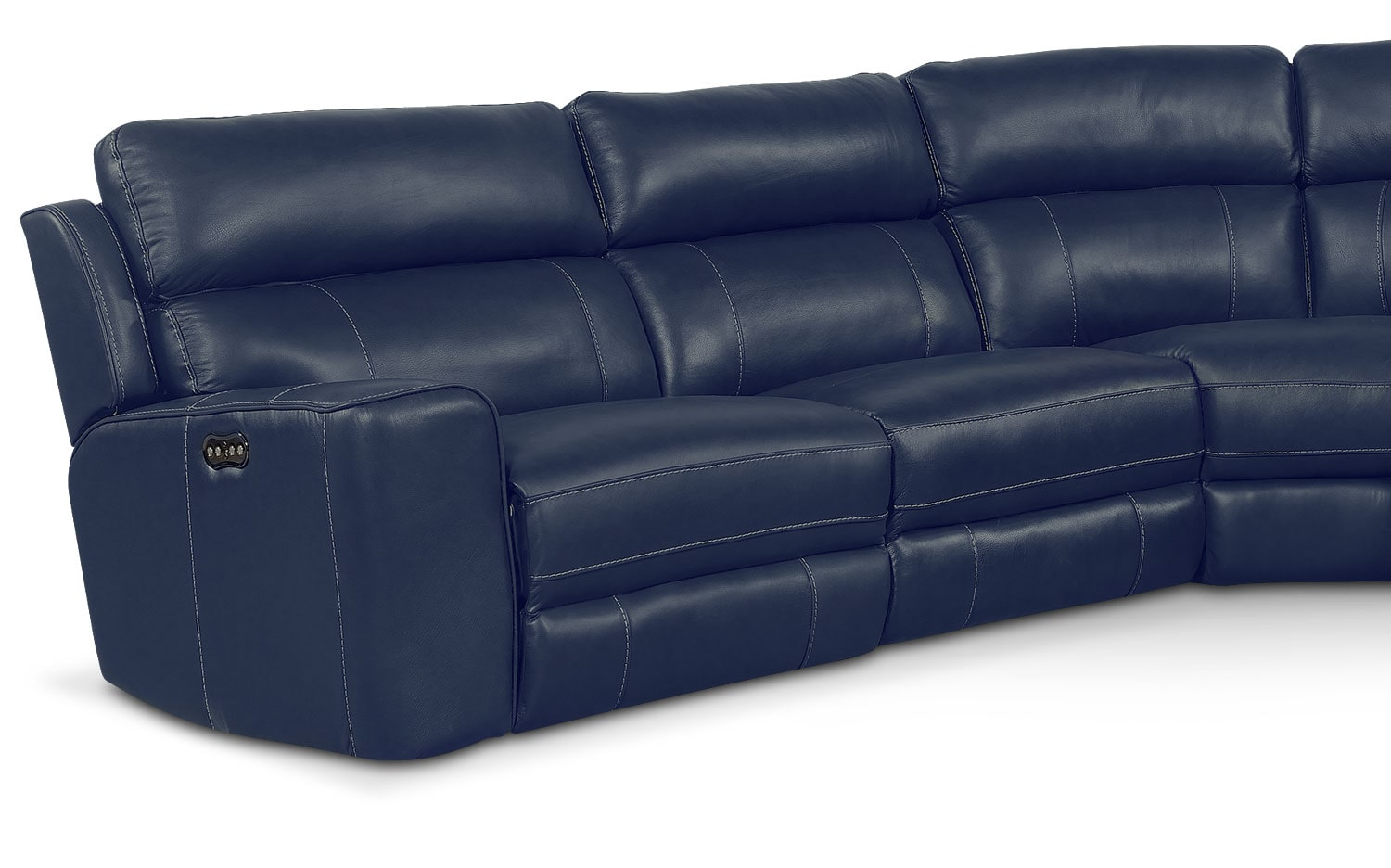 Newport 5 Piece Power Reclining Sectional With 2 Reclining Seats Blue American Signature