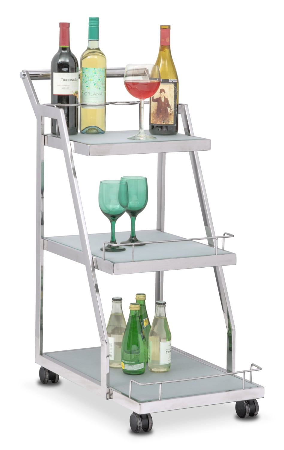 Trente Wine Cart - Stainless Steel