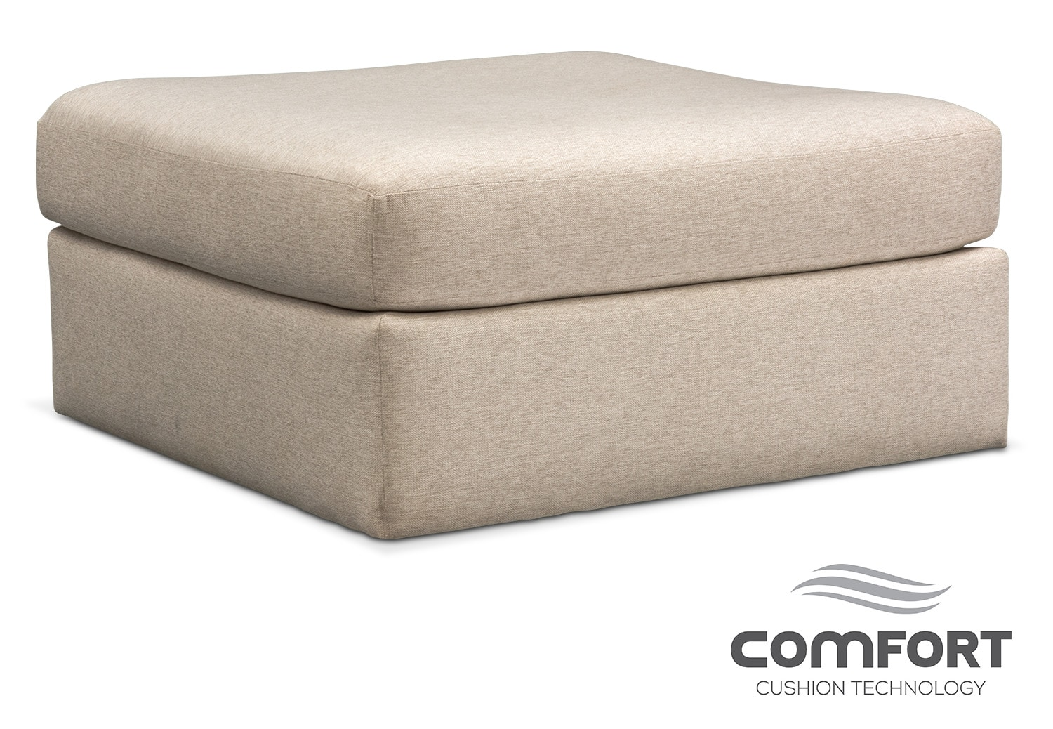 Living Room Furniture - Trenton Comfort Ottoman - Linen
