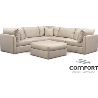 american signature furniture living room. trenton comfort 5-piece sectional and ottoman set - linen american signature furniture living room