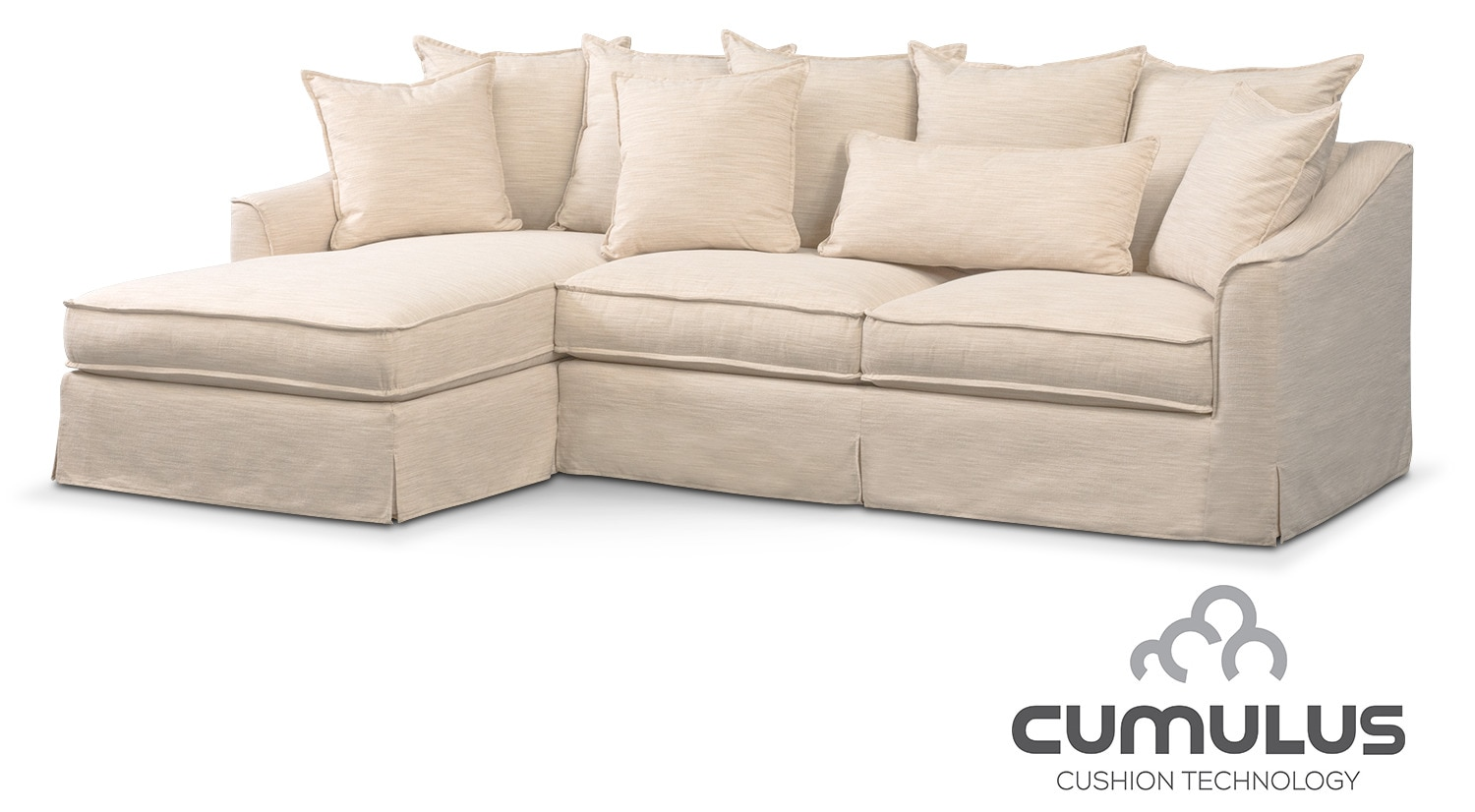 Brooke Cumulus 2 Piece Sectional With Left Facing Chaise   Ivory