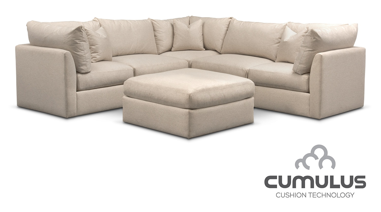 Trenton cumulus 5 piece sectional and ottoman set linen for 5 piece living room packages