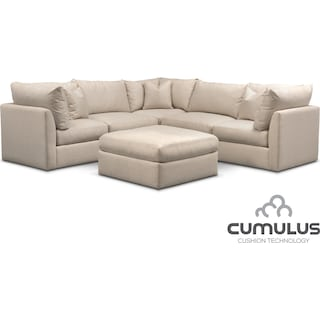 Trenton Cumulus 5-Piece Sectional and Ottoman Set - Linen