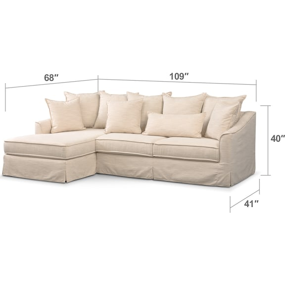stanford button tufting linen like deep ivory ii sectional w fabric