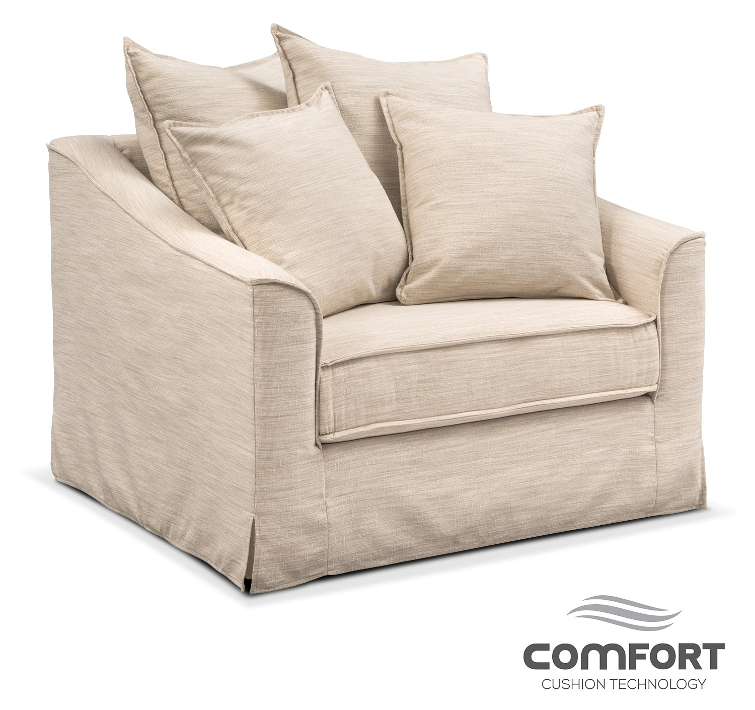 Brooke comfort chair and a half ivory american for Comfort living furniture