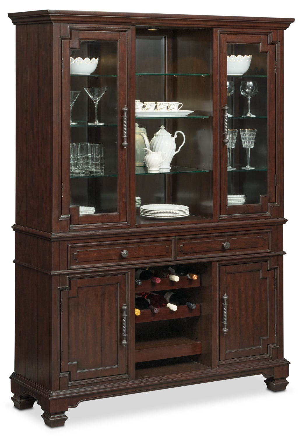 Accent and Occasional Furniture - Vienna Buffet and Hutch - Merlot