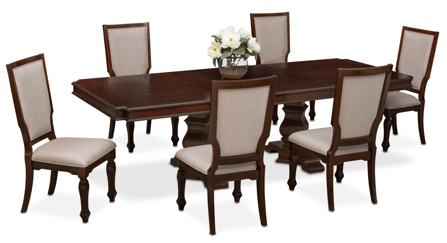 Dining Room Furniture - Vienna Dining Table and 6 Upholstered Dining Chairs