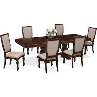 Vienna Dining Table and 6 Upholstered Dining Chairs