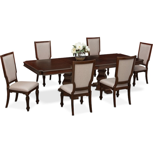 Dining Room Furniture - Vienna Dining Table and 6 Upholstered Side Chairs - Merlot