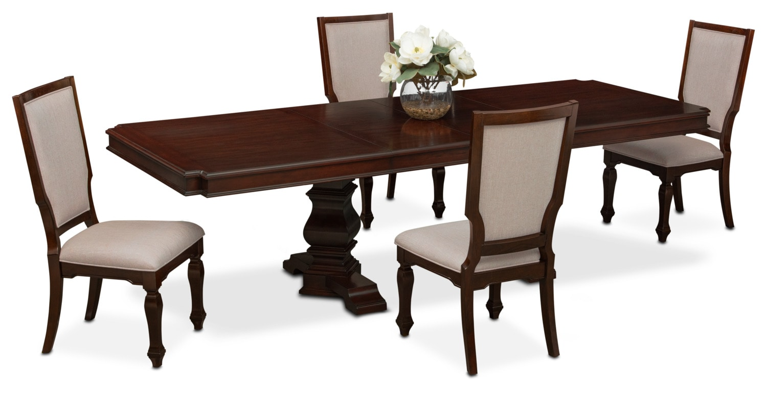 Vienna Rectangular Dining Table and 4 Upholstered Side Chairs - Merlot