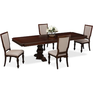 Vienna Rectangular Dining Table and 4 Upholstered Dining Chairs