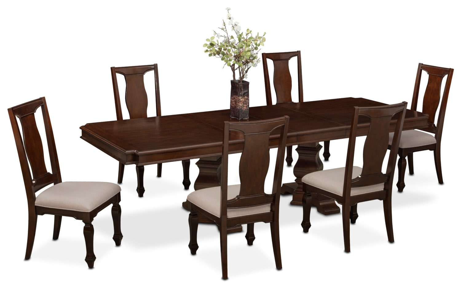 Dining Room Furniture - Vienna Dining Table and 6 Side Chairs - Merlot