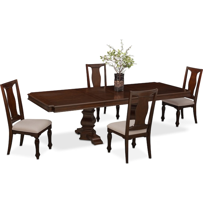 Dining Room Furniture - Vienna Rectangular Dining Table and 4 Side Chairs - Merlot