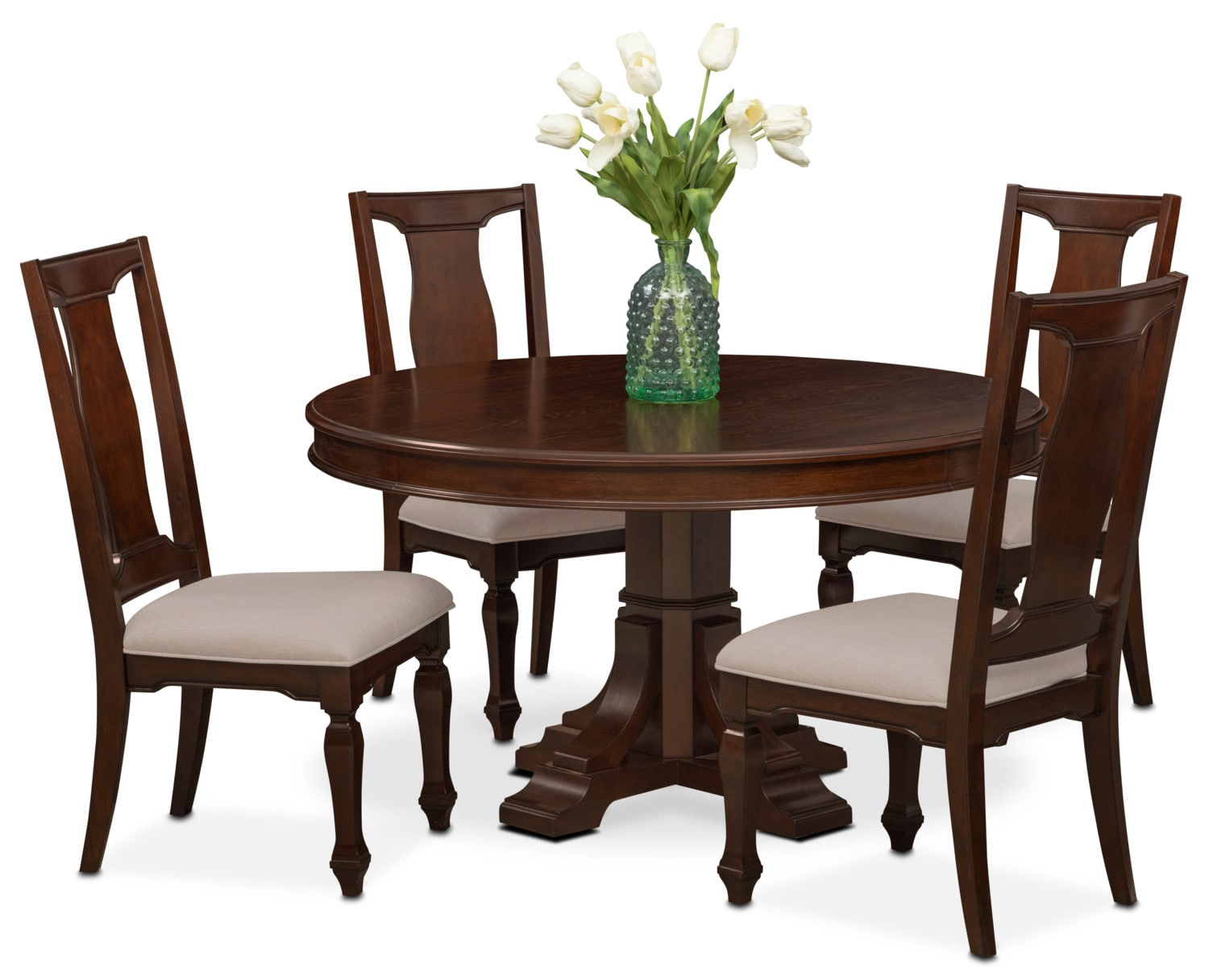 Vienna Round Dining Table And 4 Side Chairs   Merlot