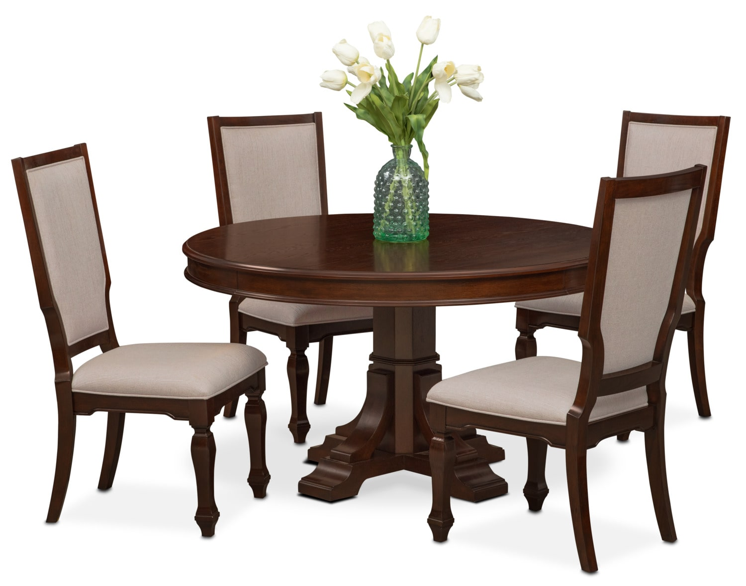 Vienna round dining table and 4 upholstered side chairs for Dining room end chairs