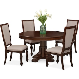 Vienna Round Dining Table and 4 Upholstered Side Chairs - Merlot