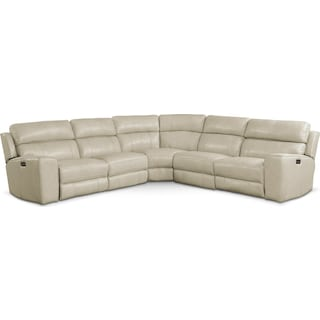 Newport 5-Piece Power Reclining Sectional with 3 Reclining Seats - Cream