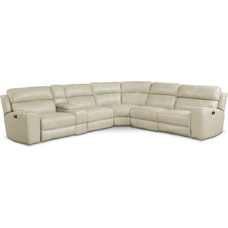 Newport 6-Piece Dual-Power Reclining Sectional with 2 Reclining Seats - Cream