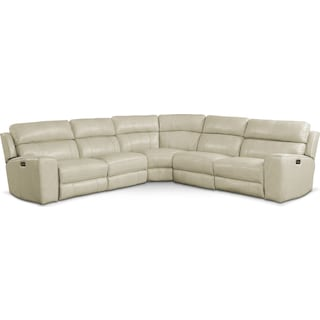 Newport 5-Piece Dual-Power Reclining Sectional with 2 Reclining Seats - Cream