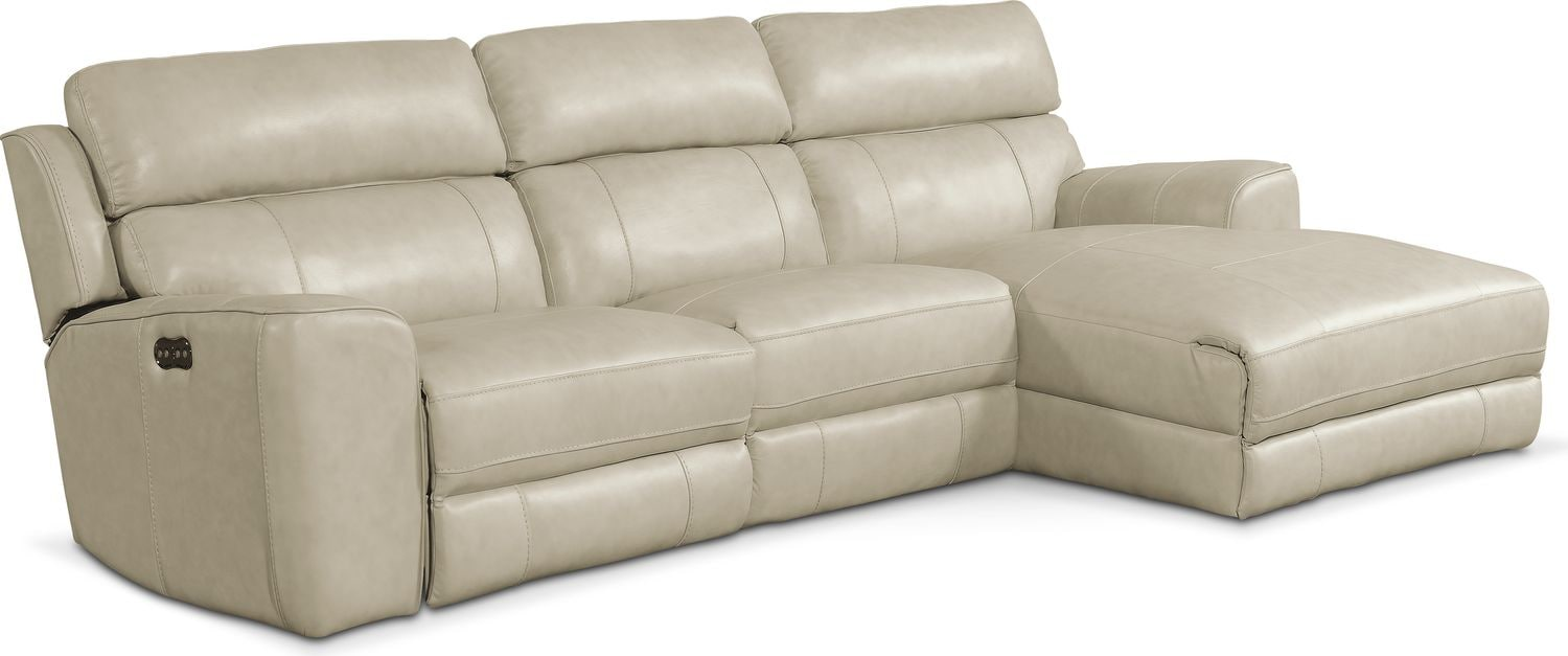 Newport 3-Piece Power Reclining Sectional with Right-Facing Chaise - Cream