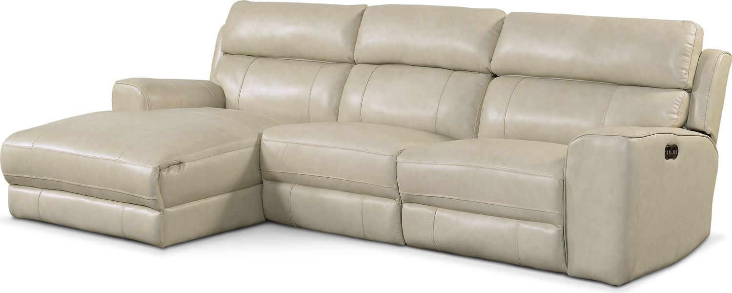 Newport 3-Piece Power Reclining Sectional with Left-Facing Chaise - Cream