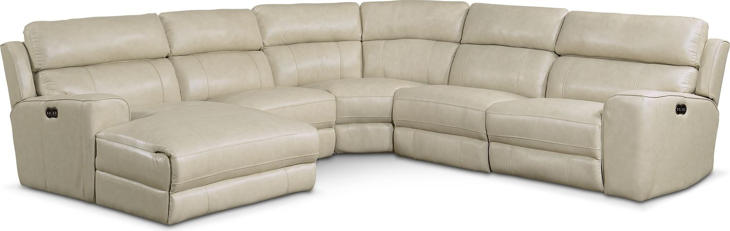 Newport 5-Piece Power Reclining Sectional with Left-Facing Chaise and 2 Recliners - Cream