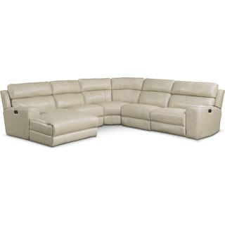 Newport 5-Piece Dual-Power Reclining Sectional with Left-Facing Chaise and 2 Reclining Seats - Cream