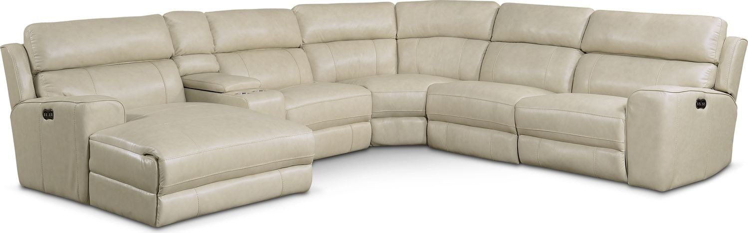 Newport 6-Piece Power Reclining Sectional with Left-Facing Chaise and 1 Recliner - Cream