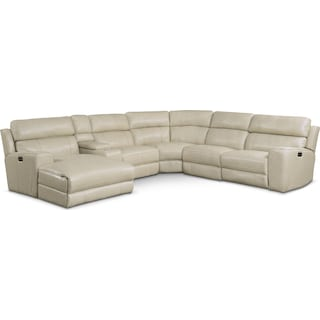 Newport 6-Piece Dual-Power Reclining Sectional with Left-Facing Chaise and 1 Reclining Seat - Cream