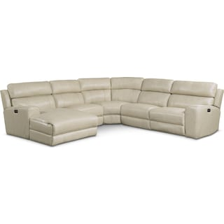 Newport 5-Piece Power Reclining Sectional with Left-Facing Chaise and 1 Recliner - Cream
