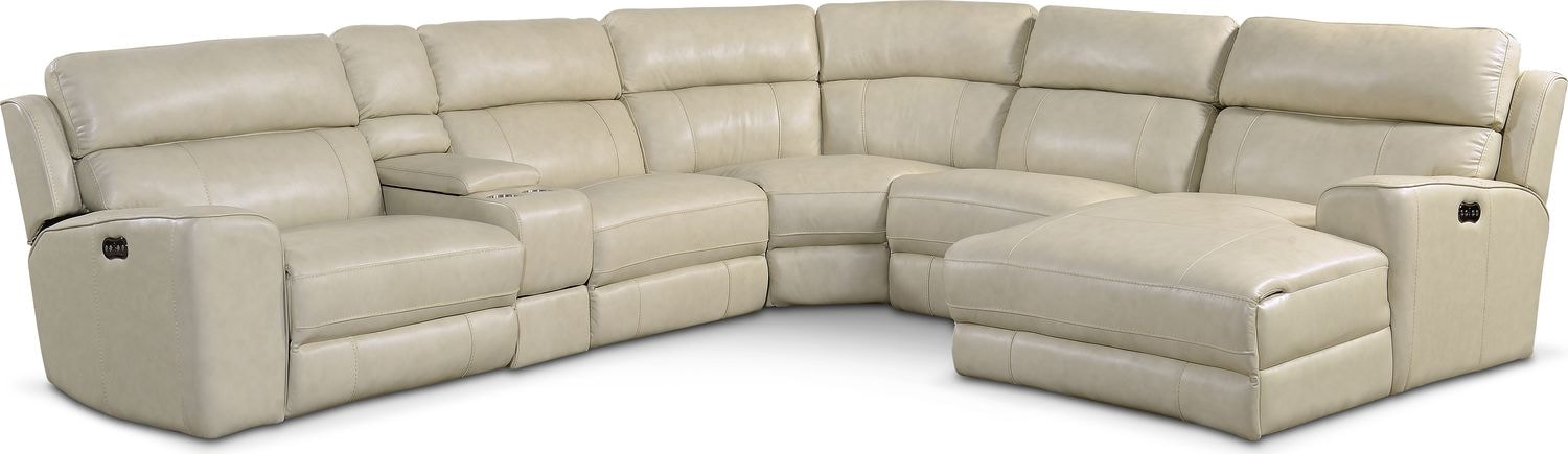 Living Room Furniture   Newport 6 Piece Power Reclining Sectional With  Right Facing Chaise