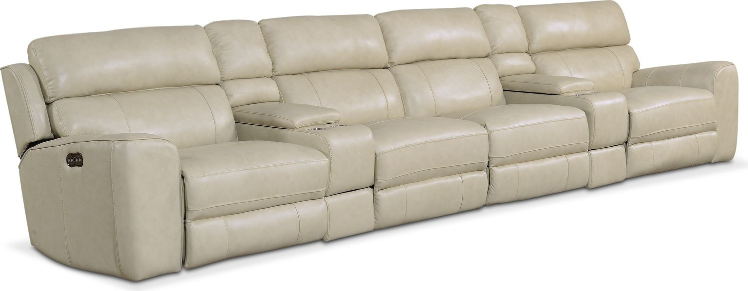 Newport 6-Piece Power Reclining Sectional with 4 Reclining Seats - Cream